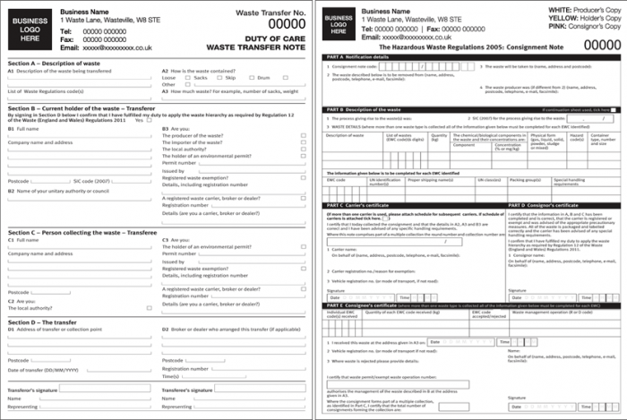 Duty of Care Forms