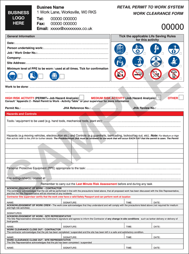 Permit to Work Form