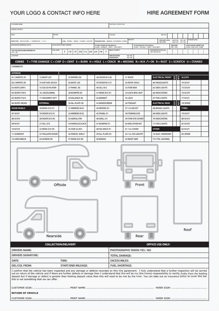 Campervan Hire/Rental Agreement Form