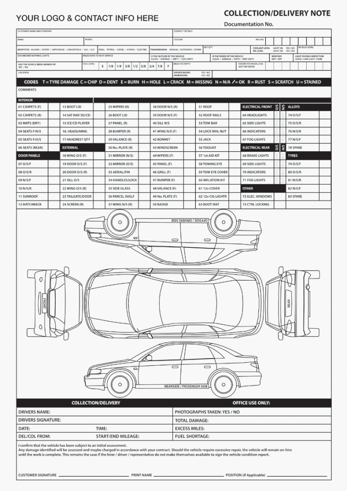 Vehicle Hire Forms
