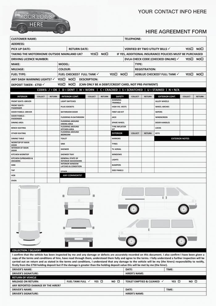 VW Transporter Campervan Hire Agreement Form
