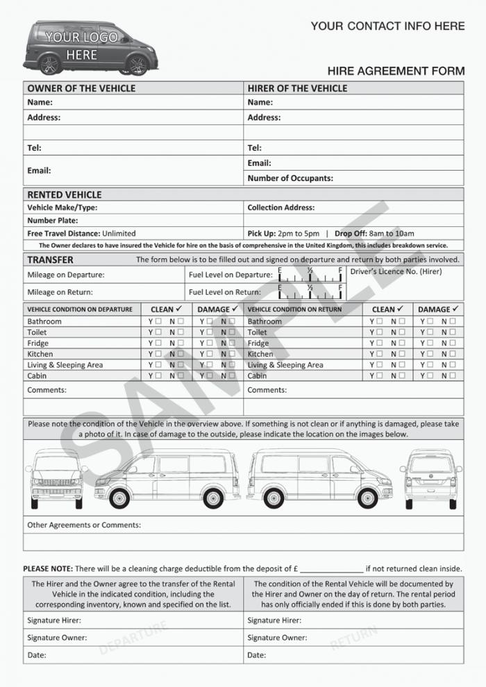 VW Transporter Hire Agreement Form
