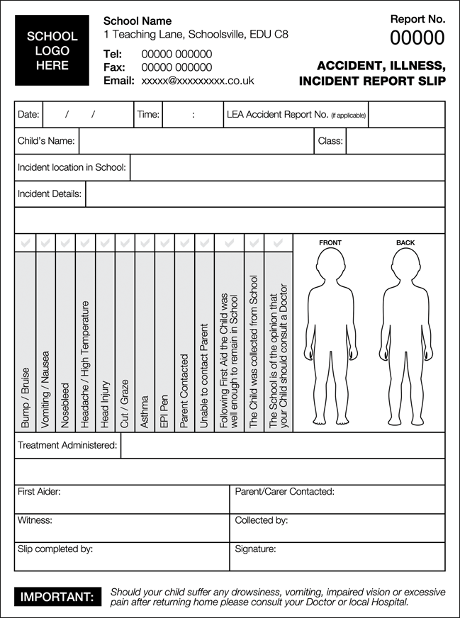 school accident forms  u0026 injury forms